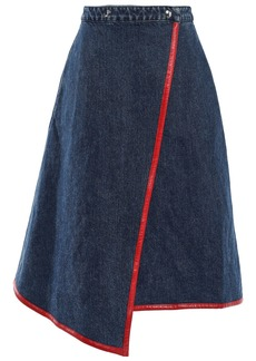 Acne Studios Woman Asymmetric Faux Leather-trimmed Denim Wrap Skirt Dark Denim