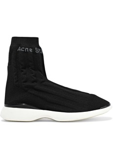Acne Studios Woman Batilda Mesh-trimmed Stretch-knit Sneakers Black
