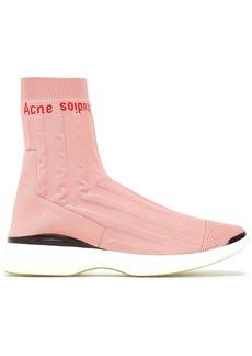 Acne Studios Woman Batilda Mesh-trimmed Stretch-knit Sneakers Blush