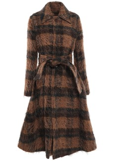 Acne Studios Woman Belted Checked Brushed-woven Coat Brown