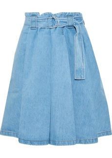 Acne Studios Woman Belted Pleated Denim Mini Skirt Light Denim