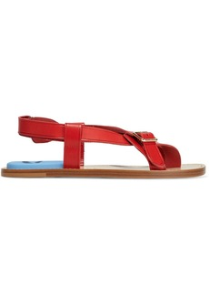 Acne Studios Woman Bianca Buckled Leather Sandals Red