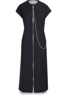 Acne Studios Woman Chain-embellished Striped Wool And Broadcloth Midi Dress Midnight Blue