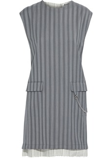 Acne Studios Woman Chain-embellished Striped Wool And Broadcloth Mini Dress Gray