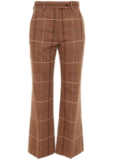 Acne Studios Woman Checked Wool And Cotton-blend Wide-leg Pants Brown
