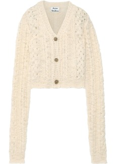 Acne Studios Woman Cropped Cable-knit Wool Cardigan Beige
