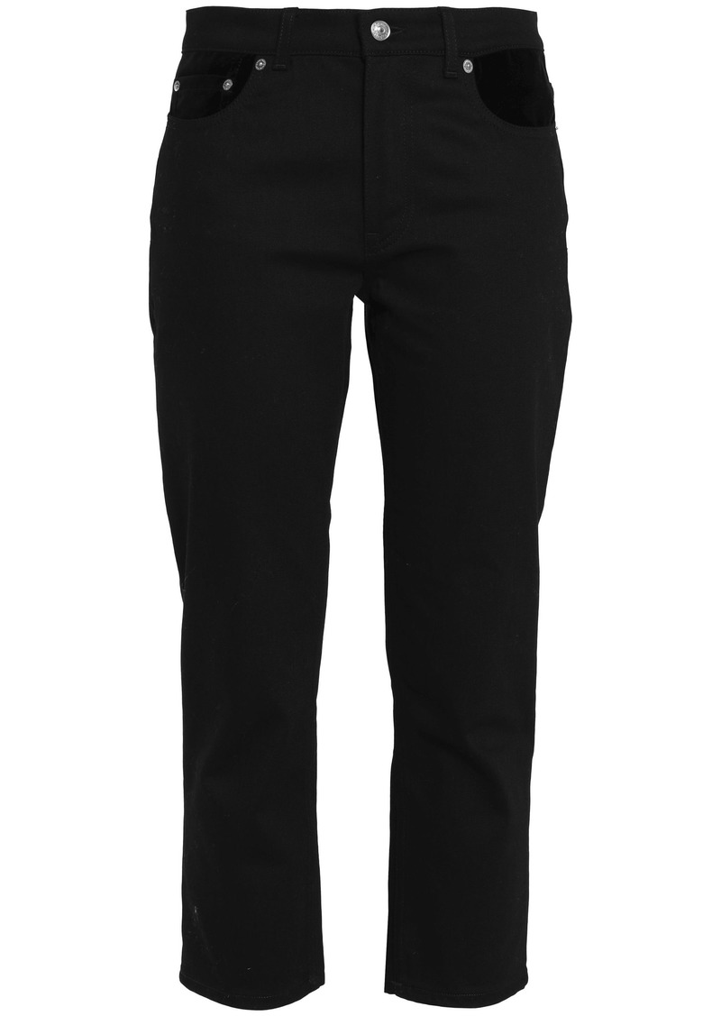 Acne Studios Woman Cropped Velvet-trimmed Mid-rise Slim-leg Jeans Black