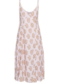 Acne Studios Woman Darcie Ruched Floral-print Shell Midi Slip Dress Pastel Pink