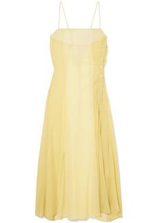 Acne Studios Woman Delila Button-detailed Silk-chiffon And Crepe De Chine Midi Dress Pastel Yellow