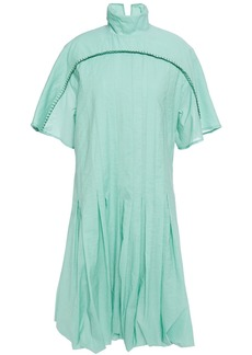 Acne Studios Woman Dot Pleated Crinkled Cotton-blend Voile Turtleneck Dress Jade