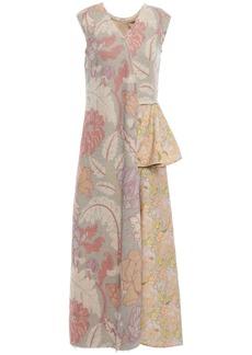 Acne Studios Woman Draped Paneled Jute-blend Midi Dress Sand