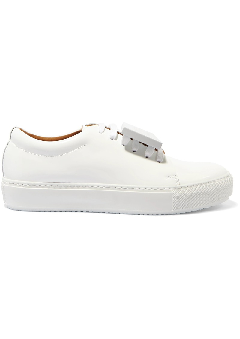 Acne Studios Woman Adriana Plaque-detailed Patent-leather Sneakers White