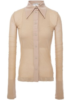 Acne Studios Woman Estefani Sateen-trimmed Burnout Jersey Shirt Neutral