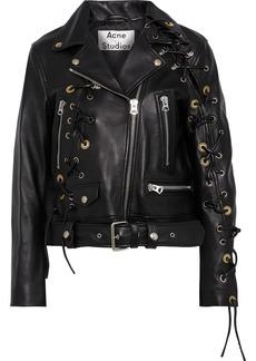 Acne Studios Woman Eyelet Lace-up Leather Biker Jacket Black