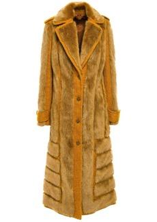 Acne Studios Woman Faux Fur And Jute-blend Bouclé Coat Mustard