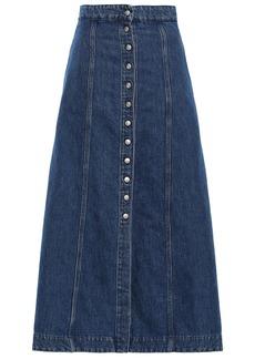 Acne Studios Woman Flared Denim Midi Skirt Dark Denim