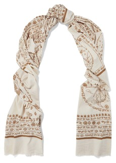 Acne Studios Woman Frayed Printed Cotton-voile Scarf Ecru