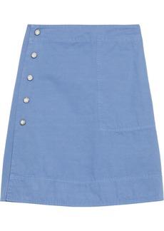 Acne Studios Woman Ida Snap-detailed Cotton And Linen-blend Mini Wrap Skirt Light Blue