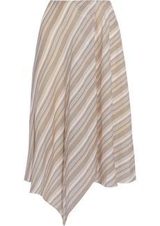 Acne Studios Woman Ilsa Asymmetric Striped Cotton-voile Skirt Sand