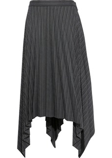 Acne Studios Woman Ilsie Asymmetric Pleated Wool-blend Midi Skirt Black