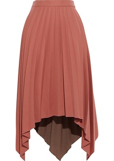 Acne Studios Woman Ilsie Asymmetric Pleated Woven And Checked Jacquard Midi Skirt Antique Rose