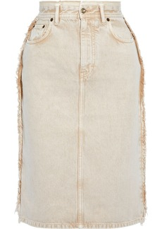 Acne Studios Woman Ilyssia Frayed Denim Skirt Beige