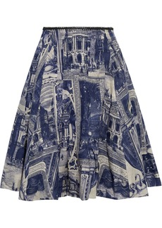 Acne Studios Woman Isolde Flared Printed Linen Skirt Indigo