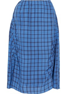 Acne Studios Woman Iza Ruched Gingham Shell Midi Skirt Azure