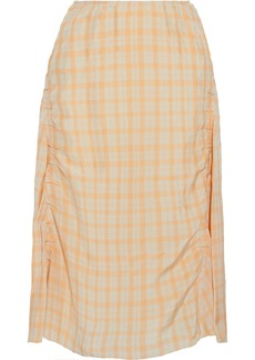 Acne Studios Woman Iza Ruched Gingham Shell Midi Skirt Pastel Orange
