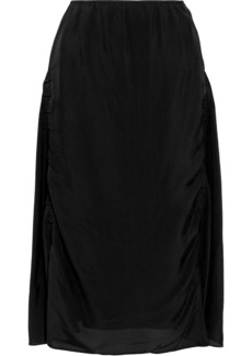 Acne Studios Woman Iza Ruched Shell Midi Skirt Black