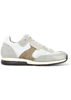 Acne Studios Woman Joriko Suede Mesh And Pvc Sneakers Light Gray