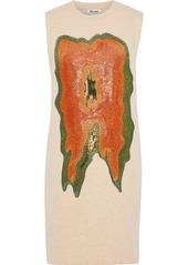 Acne Studios Woman Katja Metallic Embroidered Cotton-blend Fleece Mini Dress Beige