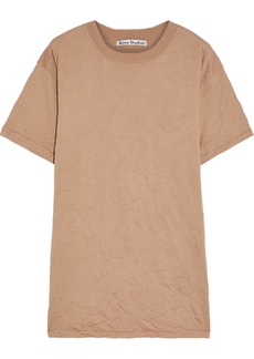 Acne Studios Woman Kimmy Crinkled Stretch-knit Top Neutral