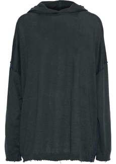 Acne Studios Woman Oversized Distressed Linen Hoodie Forest Green