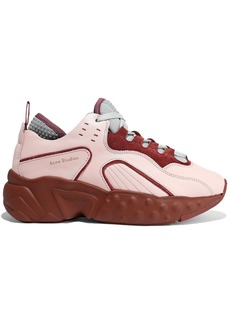 Acne Studios Woman Manhattan Leather Suede And Mesh Sneakers Pink
