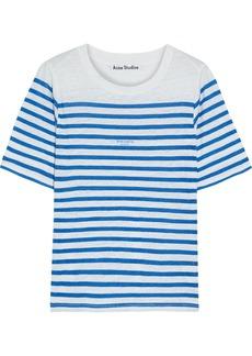 Acne Studios Woman Megalin Striped Slub Linen-jersey T-shirt Ivory