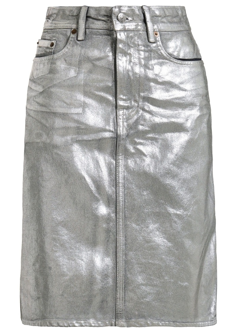 Acne Studios Woman Metallic Coated Denim Skirt Silver