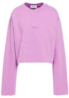 Acne Studios Woman Odice Cropped Printed French Cotton-terry Sweatshirt Lilac
