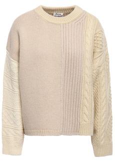 Acne Studios Woman Oversized Paneled Color-block Wool Sweater Beige