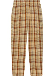 Acne Studios Woman Paige Cropped Checked Broadcloth Tapered Pants Pastel Yellow