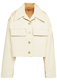 Acne Studios Woman Painted Cotton-drill Jacket Ecru