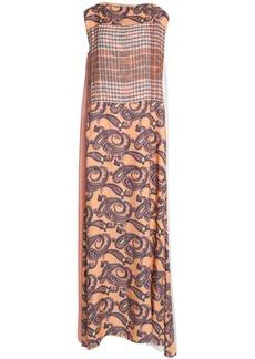 Acne Studios Woman Paneled Printed Wool-twill And Gauze Maxi Dress Peach