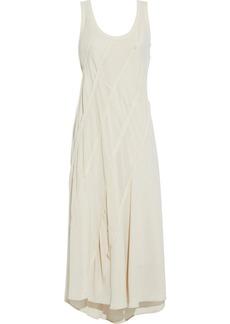 Acne Studios Woman Patchwork Crepe De Chine Cotton-voile And Georgette Midi Dress Beige