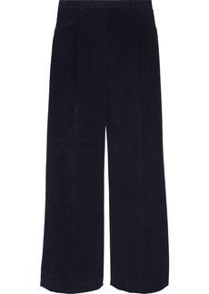 Acne Studios Woman Pina Pleated Cotton-blend Corduroy Wide-leg Pants Midnight Blue
