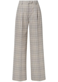 Acne Studios Woman Pina Prince Of Wales Checked Cotton-blend Wide-leg Pants Taupe