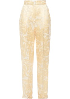 Acne Studios Woman Polino Linen And Silk-blend Satin-jacquard Tapered Pants Pastel Yellow