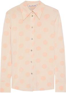 Acne Studios Woman Polka-dot Satin-jersey Shirt Peach