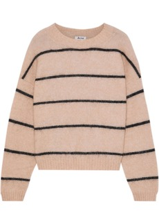Acne Studios Woman Rhira Striped Brushed-knitted Sweater Beige