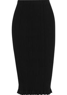 Acne Studios Woman Ribbed Cotton-blend Pencil Skirt Black