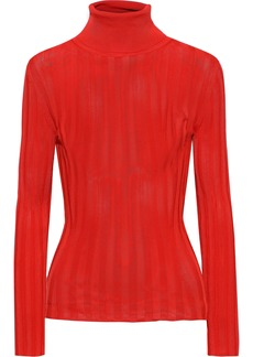Acne Studios Woman Ribbed-knit Turtleneck Sweater Red